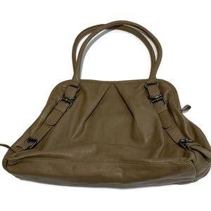 Clarks Taupe Leather Buckle Shoulder Bag Purse